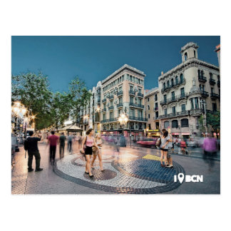 Walk and kiss AT the Boulevard, Barcelona, Spain Postcard