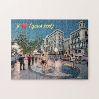 Walk and kiss in La Rambla, Barcelona, Spain Rompecabezas Con Fotos