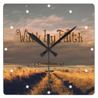 Walk by Faith Bible Verse Scripture Square Wallclocks