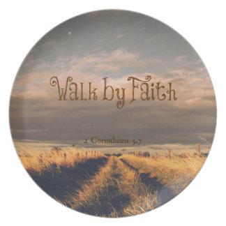 Walk by Faith Bible Verse Scripture Melamine Plate
