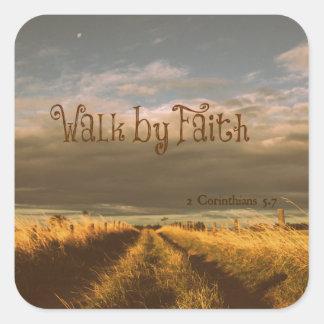 Walk by Faith Bible Verse Scripture Square Sticker