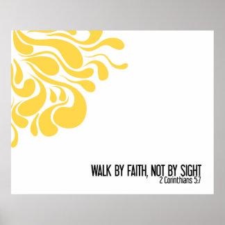 """Walk By Faith"" Wall Print in Yellow"