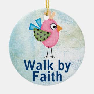 walk by faith whimsical bird ceramic ornament