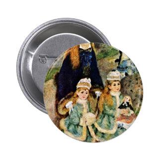 Walk By Pierre-Auguste Renoir (Best Quality) Pinback Buttons