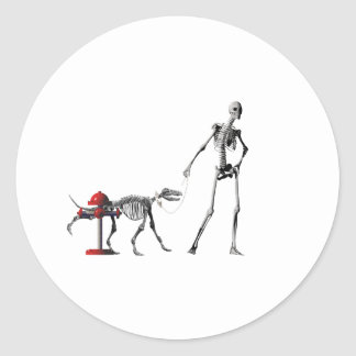 walk dog classic round sticker