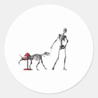 walk dog classic round sticker