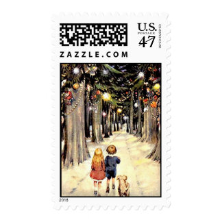 Walk Down Christmas Lane - Vintage Postage Stamp
