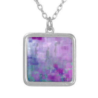 Walk for a Cure Square Pendant Necklace
