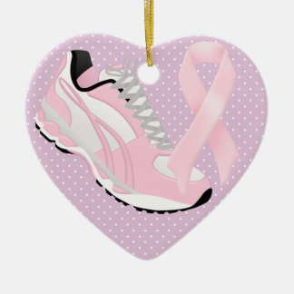 Walk for the Cure - SRF Double-Sided Heart Ceramic Christmas Ornament