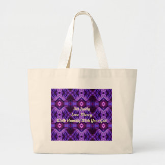 """""""Walk Humbly With Your God"""" Purple Design Large Tote Bag"""
