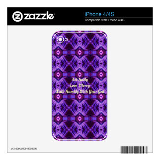 """Walk Humbly With Your God"" Purple Design Skin For The iPhone 4"