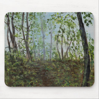 Walk in a misty woods mouse pad
