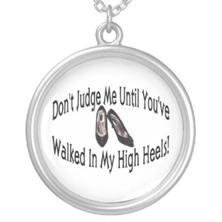 Walk In My High Heels Silver Plated Necklace