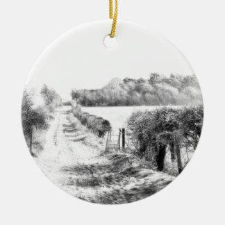 Walk in the Snow Ceramic Ornament