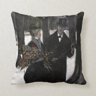 Walk in The Snow With Holly Throw Pillows