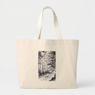 walk in the woods ink wash landscape drawing large tote bag