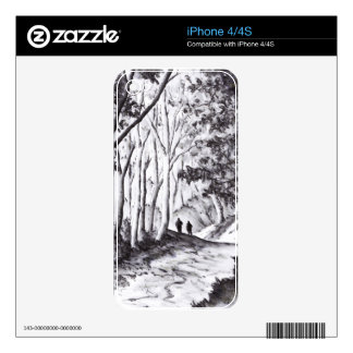 walk in the woods ink wash landscape drawing skins for the iPhone 4S