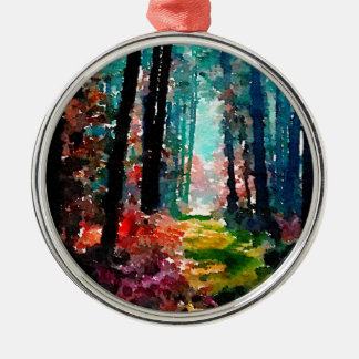 Walk in the Woods Round Metal Christmas Ornament