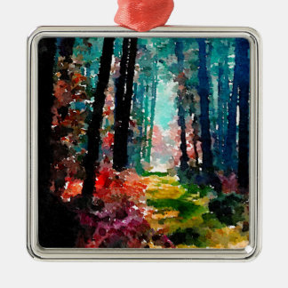 Walk in the Woods Square Metal Christmas Ornament
