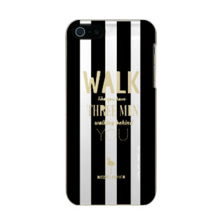Walk Like B&W Stripes by RITZYFLAMINGO Metallic Phone Case For iPhone SE/5/5s