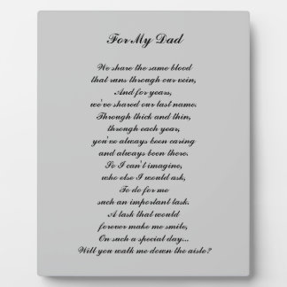 """Walk Me Down the Aisle?"" Plaque"