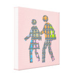 Walk n Grow Together: Customize Background Color Stretched Canvas Print