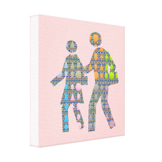 Walk n Grow Together: Customize Background Color Canvas Print