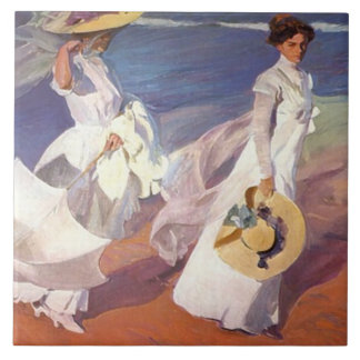 Walk on the Beach Large Ceramic Tile