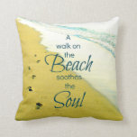 footprints in sand, ocean wave pillow, beach