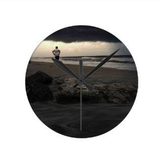 Walk On The Beach Round Clock