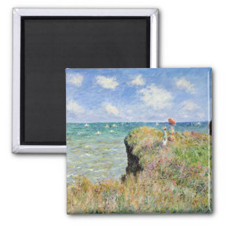 Walk on the Cliff at Pourville - Claude Monet 2 Inch Square Magnet