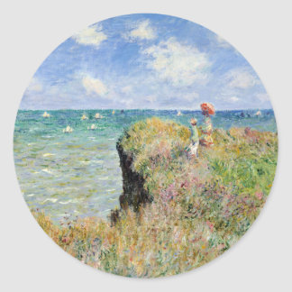 Walk on the Cliff at Pourville - Claude Monet Classic Round Sticker