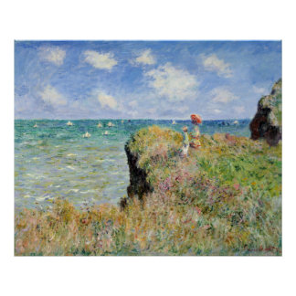 Walk on the Cliff at Pourville - Claude Monet Print