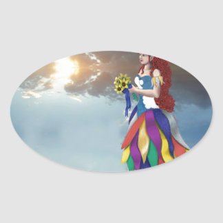 Walk on the clouds oval sticker