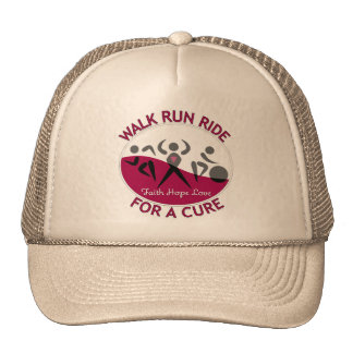 Walk Run Ride For A Cure Throat Cancer Mesh Hats