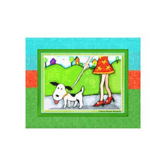 Walk The Dog Gallery Wrapped Canvas Print