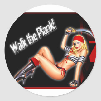 Walk the Plank - Pirate Girl Classic Round Sticker