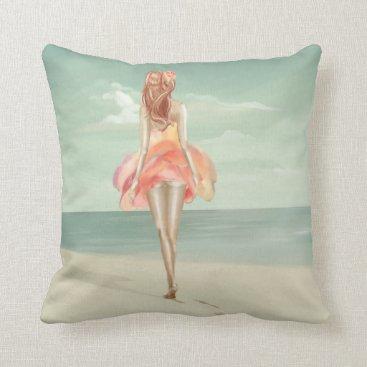 Beach Themed Walk Throw Pillow