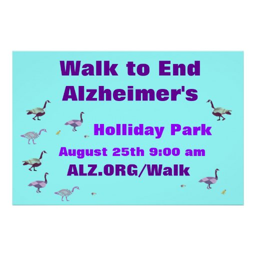 Walk to End Alzheimer's Sign Poster