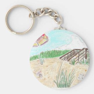 Walk Way to the Beach Basic Round Button Keychain