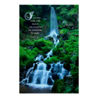 Walk With Nature Beautiful Waterfall Green Nature Poster at Zazzle