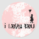 walk your heart : i love you round sticker