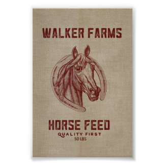 Walker Farms Horse Feed Sack Poster
