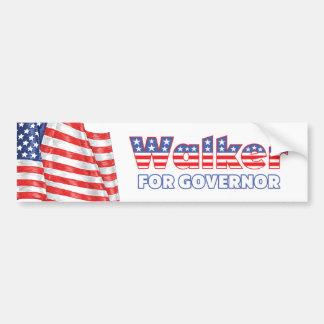 Walker for Governor Patriotic American Flag Bumper Sticker