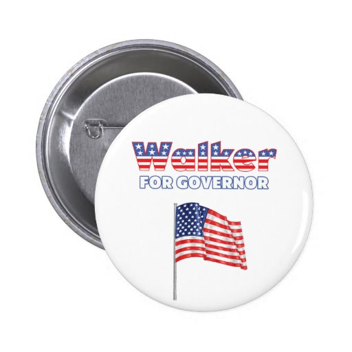 Walker for Governor Patriotic American Flag Button