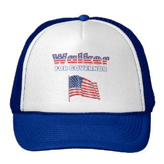 Walker for Governor Patriotic American Flag Trucker Hat