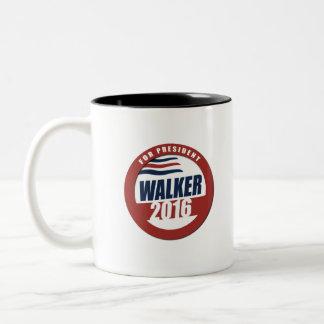 Walker for President 2016 Button Two-Tone Coffee Mug
