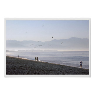Walkers and Jogger Early Morning Mexican Beach Poster