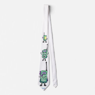 Walkie Talkies, animated, fun, green Neck Tie