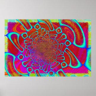 Walkin en el brillo 3D psicodélico de Sun Posters
